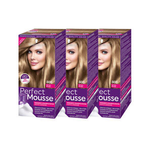 Schwarzkopf Perfect Mousse permanente Farbe / 800 Mittelblond / 3er Pack