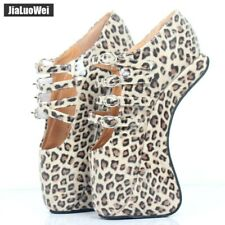 Women's Fashion 18cm Hoof Heelless Ballet Boots Sexy Leopard Print High Heels