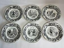 6 assiettes parlantes Creil & Montereau LM & Cie porcelaine Sire de Francboisy