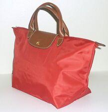 "NWT Longchamp ""LE PLIAGE"" Red Nylon/Leather Foldable Medium Top Handle Tote"