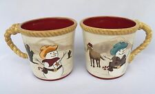2 SONOMA HAPPY TRAILS HOLIDAY CUPS MUGS CACTUS HORSE