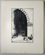 Charles HALLO Gravure sur bois woodcut mosquée du sultan hassan le caire egypte