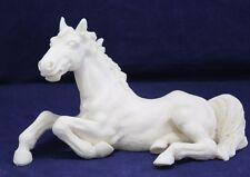 "White Ghost Horse Statue Figurine Resin Reclining 8-1/2"" x 5"" by L. Toni"