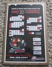 RARE 2007 INDIANA ICE MINERS HOCKEY SCHEDULE SHRINK WRAPPED MAN CAVE