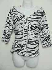 Zenergy by Chicos Womens Hoodie Jacket Zebra Black & White 3/4 Sleeve Size 1 M 8
