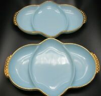 Fire-King Oven Ware Divided Serving Tray Delphite Blue Relish Dishes TWO Dishes!