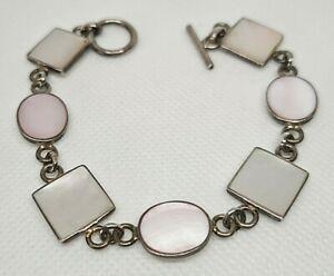 """Vintage 925 Silver/ Mother of Pearl T-Bar Bracelet 7 """" 17.3 grams"""