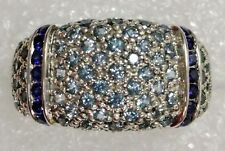 Certified Topaz & Sapphire Gemstone Ring, Solid 14K Gold- FREE SIZING