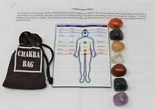 7 Chakra Crystal Healing Stone Set 7 Tumbled Stones, Instructions & Carry Pouch