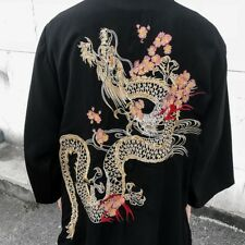 Men Japanese Kimono Cardigan Chinese Embroidered Dragon Jacket Coat Top Outwear