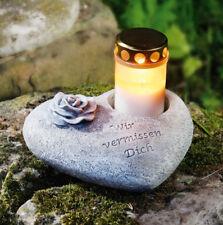 Grabschmuck Herz, Windlicht, Pflanzschale, Teelichthalter, Grabherz, Kerze