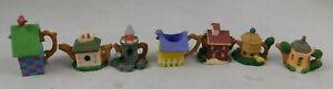 "House W Nest & Bird Teapot Miniature Cottage Castle Houses Very Cute Approx 1"""