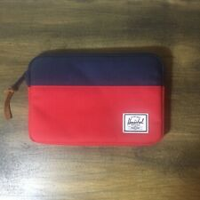 Herschel Anchor Sleeve IPad Mini Case Zipper Padded Fleece Lined Navy Red