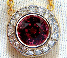 $4000 4.30ct NATURAL ROUND PINKISH RED TOURMALINE DIAMOND NECKLACE 14KT