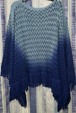 Ace Fashion Plus One Size Blue Ombre Fringes Knit Poncho