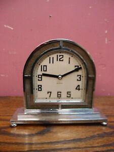 ANTIQUE 1930's CHROMED ART DECO MANTLE CLOCK PROJECT