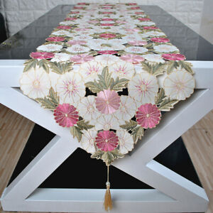Floral Embroidered Tablecloth Table Runner Cover Mats Banquet Dining Table Decor