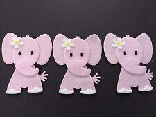 Handmade 3 pink elephant embellissements. die cuts blanc avec fleur paillettes