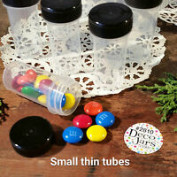 12 Tiny Tubes Vial Pill Tablet Powder Container Powder Black Cap #2810  DecoJars