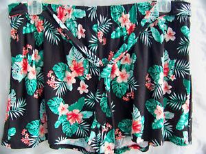 Bobbie Brooks Black Floral Shorts Super Soft Elastic Waist Size Large