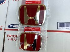 2pcs emblem set Honda Accord 08-17 Sedan 4Dr Red Jdm H Front Rear Type R grille