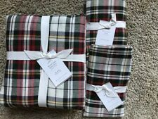 POTTERY BARN Denver Plaid Yarn Dyed FULL/QUEEN Duvet & 2 EURO Shams NEW