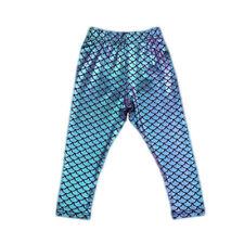 Girls Mermaid Leggings Little Girl Baby Skinny Pants Laser Shiny Color Scale