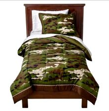 FULL - Circo Just for Kids - Green Brown Beige Camouflage SHAM & DUVET COVER SET