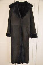 EMPORIO ARMANI WOMEN'S Long En Peau De Mouton Manteau-gris foncé. Taille ITA 38