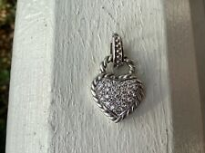Judith Ripka heavy 14K white gold .67 ct pave diamond heart pendant