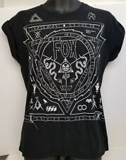 Fox Racing Ladies MED T-shirt Black~White Snakes 'Join The Family' Rolled Sleeve