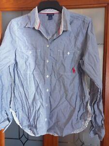 US Polo Assn Ladies Shirt Size L Blue & White Striped