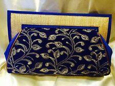Blue Gold Handbag Clutch Wallet Bollywood Indian Sari Dress Purse Velvet