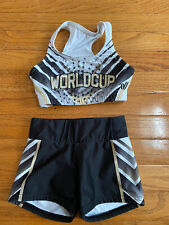 World Cup All Stars Cheer 2 Piece Varsity Practice Wear Youth Small Black Gold