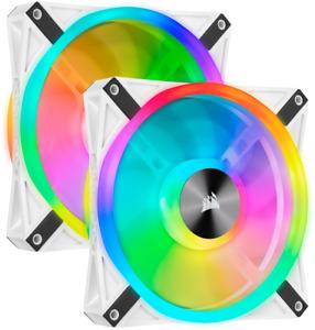 NEW Dual Fan Kit Corsair iCUE QL140 RGB 140mm PWM White Fan Lighting Node CORE