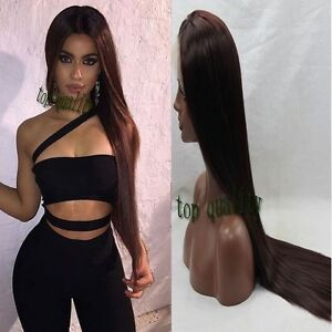 Natural lace front Brown Long Silk Straight high quality middle parting full wig