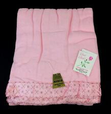 """Vintage Pink Beacon Satin Binding Acrylic Blanket 72"""" x 90""""-New"""