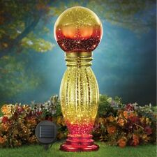 Solar Powered Lighted Gold & Red Glass Garden Gazing Ball w/ Column