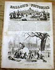 1856 illustrated newspaper w front page engraving shows BOSTON COMMON in winter