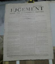 AFFICHE ANCIENNE JUGEMENT COMMISSION MILITAIRE BORDEAUX 22 VENTOSE AN 2 MOREL
