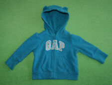 Gap blue hoodie jumper with white logo and ears for girl 6-12 months