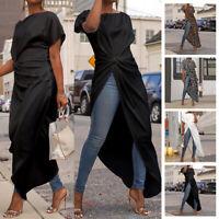 Women High Low Cross Hem Long Maxi Top Short Sleeve Party Shirt Blouse Clubwear