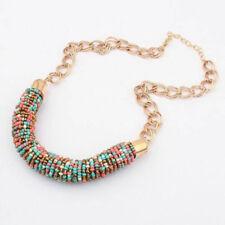 1pc Fashion Vintage Handmade DIY Beaded Chunky Chain Bib Collar Women Necklace Multicolor