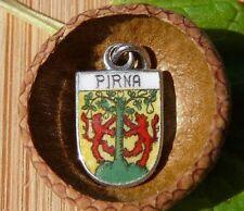 VINTAGE 835 SILVER enamel PIRNA Germany shield CHARM (C-104)