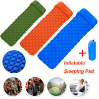 Outdoor Camping Sleeping Pad Inflatable Air Mat with Pillow Lightweight Hiking-