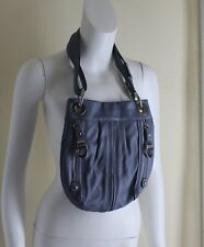 B. Makowsky Buttery Rich Stone Blue-Gray Leather Shoulder Small Bag