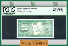 Tt Pk 33e 2005-07 Burundi 10 Francs Pcgs 67 Ppq Superb Top Pop Extremely Rare!