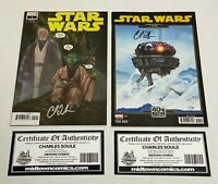 lot of 2 Star Wars #1 2020 edition variant covers autographed by Charles Soule
