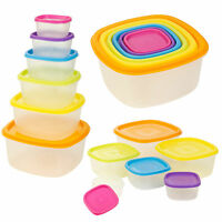 6 x Clear Plastic Food Storage Box Containers With Multi Colour Lids Stacking