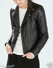 ZARA REAL GENUINE LEATHER BIKER JACKET ECHTLEDER LEDER Jacke Lederjacke SIZE L